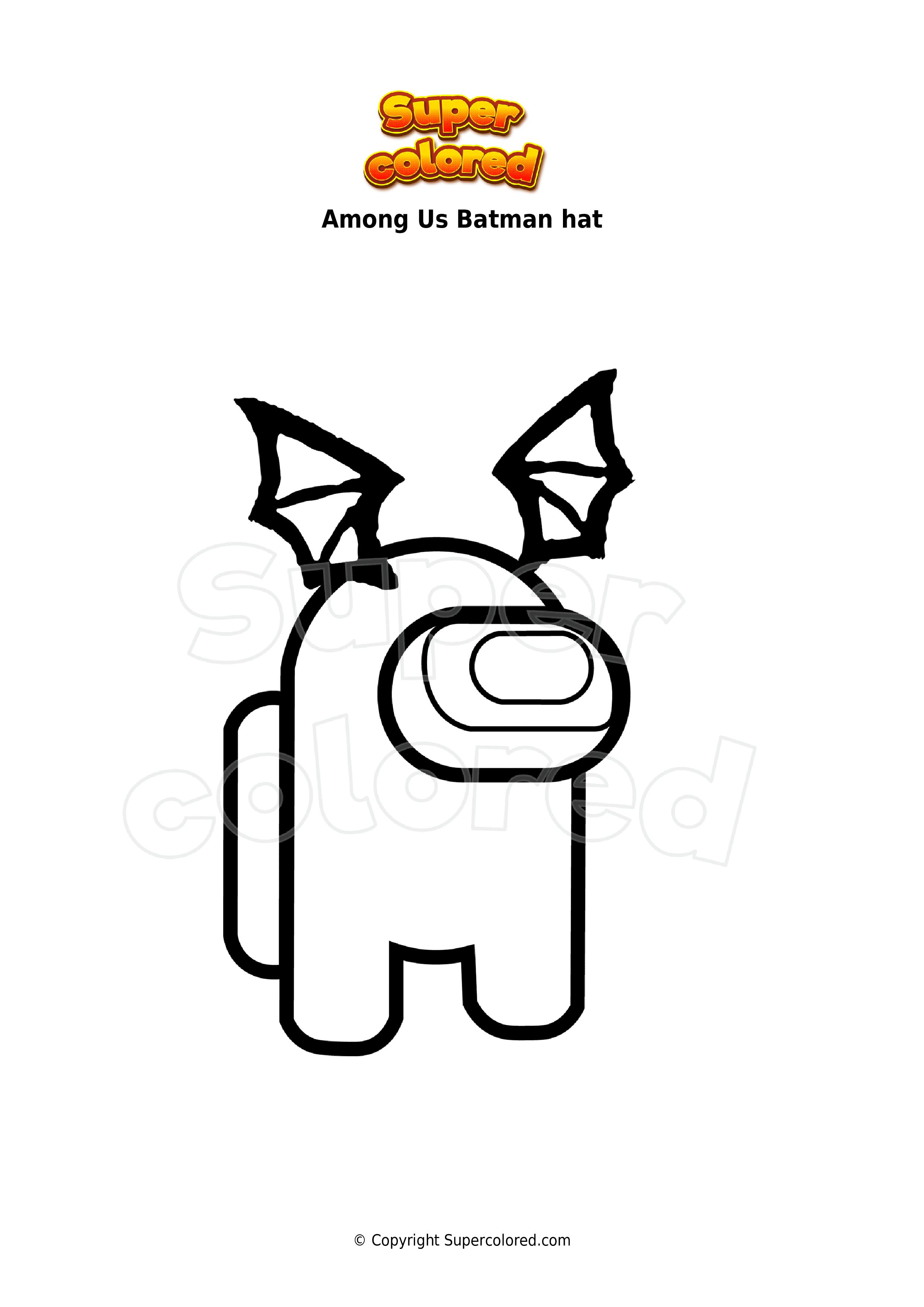 Ausmalbild Among Us Batman hat - Supercolored.com
