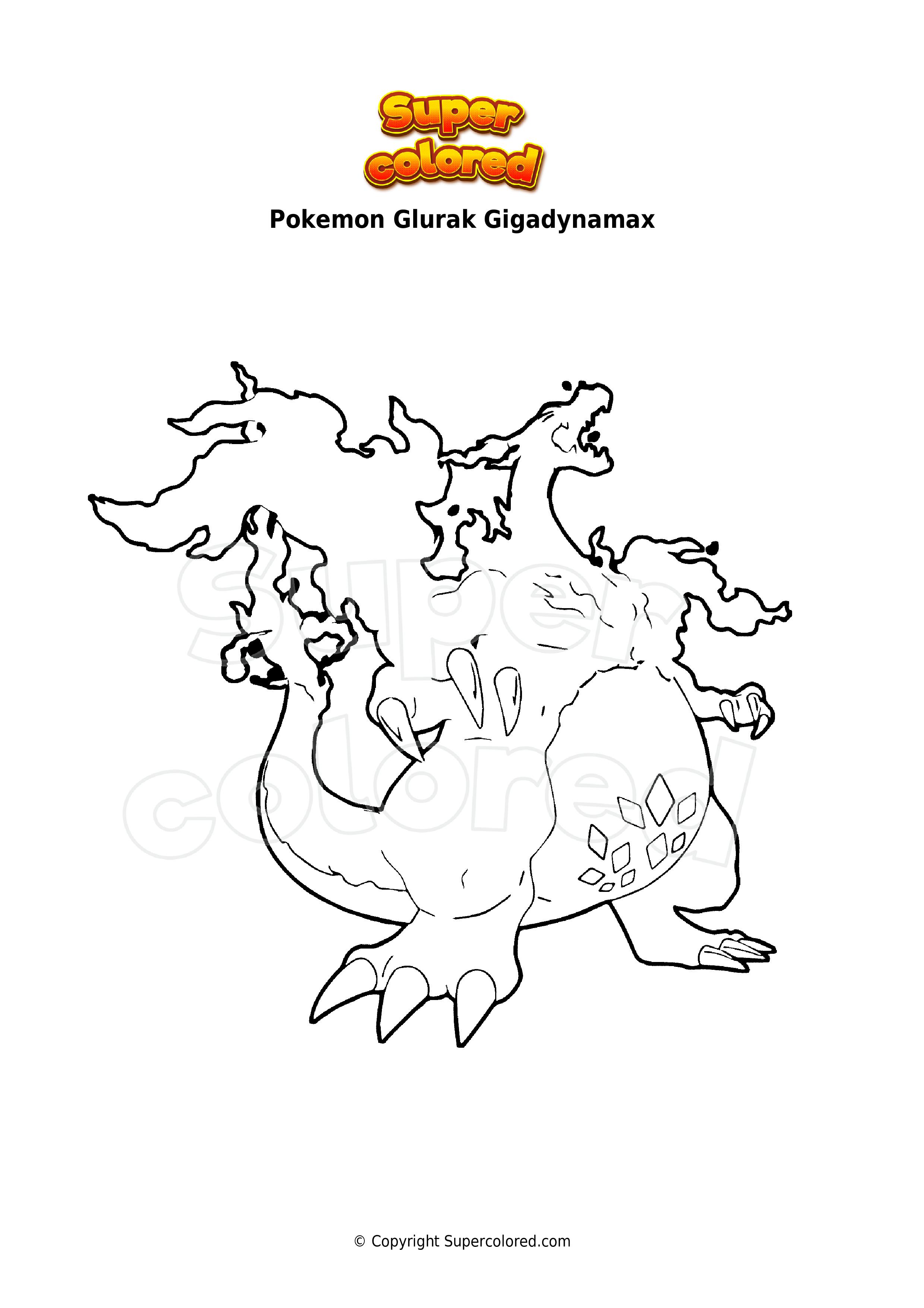 Ausmalbild Pokemon Glurak Gigadynamax - Supercolored.com