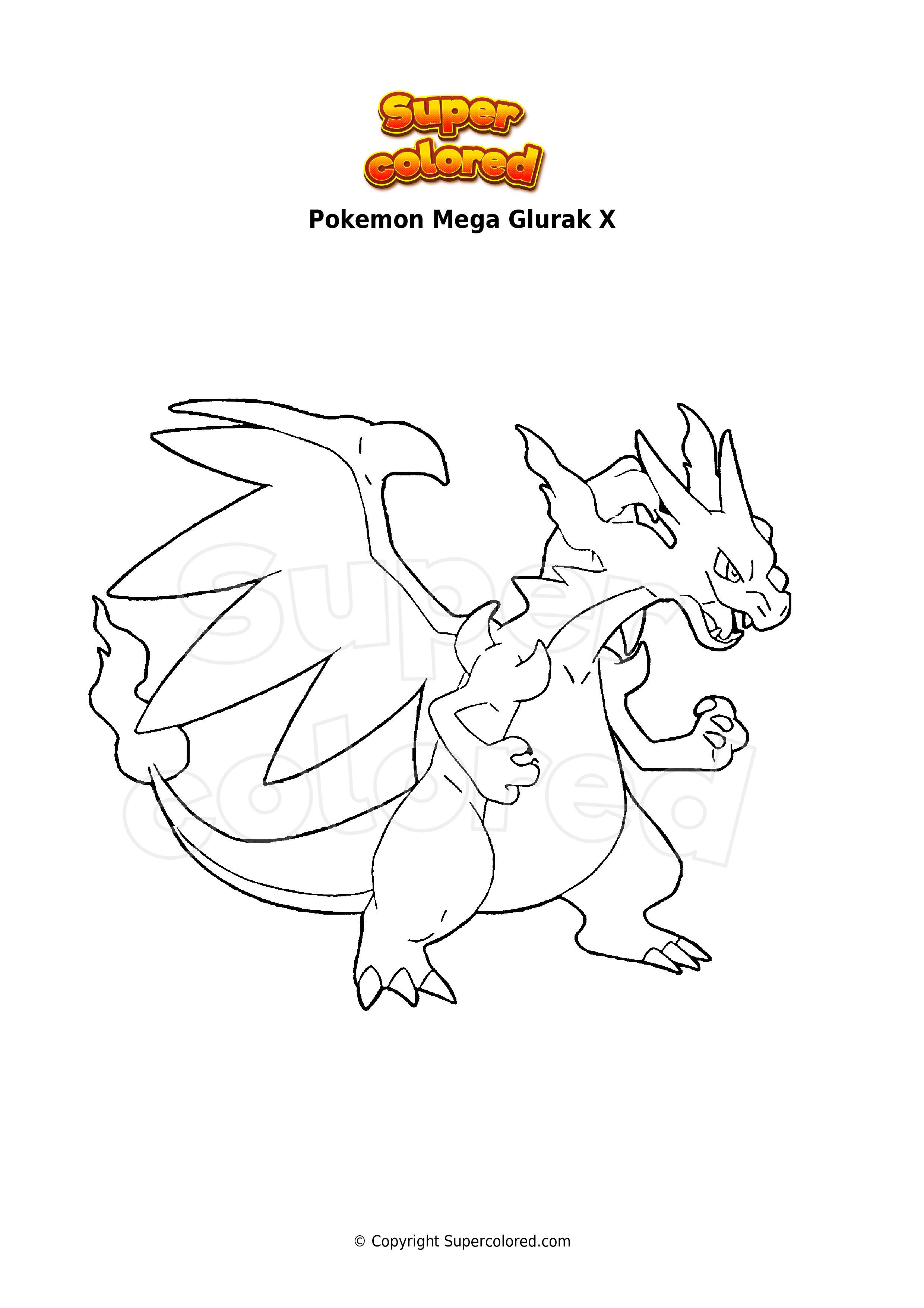 Ausmalbild Pokemon Mega Glurak X - Supercolored.com