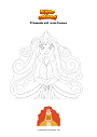 Ausmalbild Prinzessin mit roten Haaren