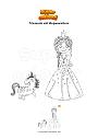 Ausmalbild Prinzessin mit Welpeneinhorn