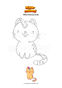 Coloriage Chat licorne assis