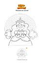 Coloriage Princesse arc-en-ciel