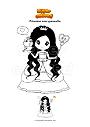 Coloriage Princesse avec grenouille