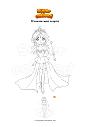 Coloriage Princesse avec sceptre