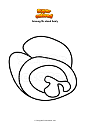 Coloring page Among Us dead body