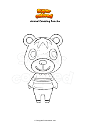 Coloring page Animal Crossing Poncho