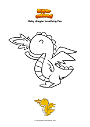 Coloring page Baby dragon breathing fire