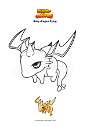 Coloring page Baby dragon flying