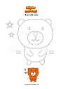 Coloring page Bear with stars