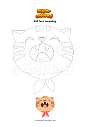 Coloring page Cat face meowing
