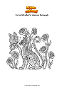 Coloring page Cat with Butterfly Mandala Zentangle