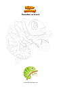 Coloring page Chameleon on branch