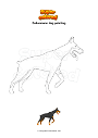 Coloring page Dobermann dog pointing