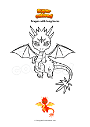 Coloring page Dragon with long horns