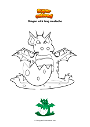 Coloring page Dragon with long mustache