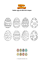 Coloring page Easter eggs of different shapes