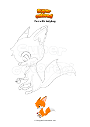 Coloring page Fox with ladybug