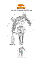 Coloring page Girl with big sweater and little dog