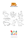 Coloring page Group of dinosaurs