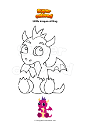 Coloring page Little dragon sitting