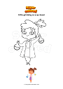 Coloring page Little girl doing an experiment