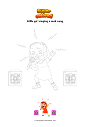 Coloring page Little girl singing a rock song