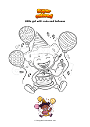Coloring page Little girl with cake and balloons