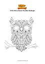 Coloring page Little Owl on Branch Mandala Zentangle