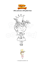 Coloring page Little princess with pink dress