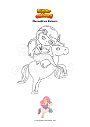 Coloring page Mermaid on Unicorn