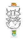 Coloring page Newborn dragon with horns