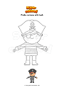 Coloring page Pirate costume with hook