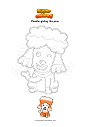 Coloring page Poodle giving the paw