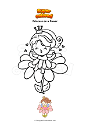 Coloring page Princess on a flower