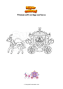 Coloring page Princess with carriage and horse