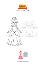 Coloring page Princess with castle