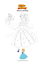 Coloring page Princess with fairy