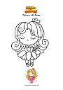 Coloring page Princess with flower