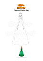 Coloring page Princess with green dress