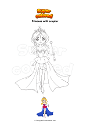 Coloring page Princess with scepter