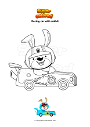 Coloring page Racing car with rabbit