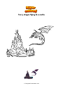 Coloring page Scary dragon flying to a castle