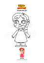 Coloring page Simple little girl