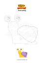Coloring page Snail smiling