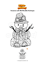 Coloring page Snowman with Hat Mandala Zentangle