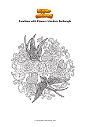 Coloring page Swallows with Flowers Mandala Zentangle