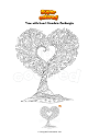 Coloring page Tree with Heart Mandala Zentangle