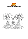 Coloring page Trees with heart Mandala Zentangle