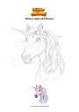 Coloring page Unicorn head with flowers